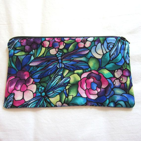 Stained Glass Dragonflies Fabric Zipper Pouch / Pencil Case / Make Up Bag / Gadget Sack