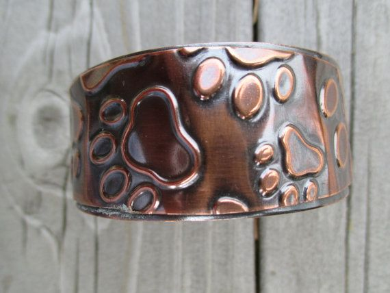 Embossed Copper Cuff Bracelet by ColetteLouiseDesigns on Etsy