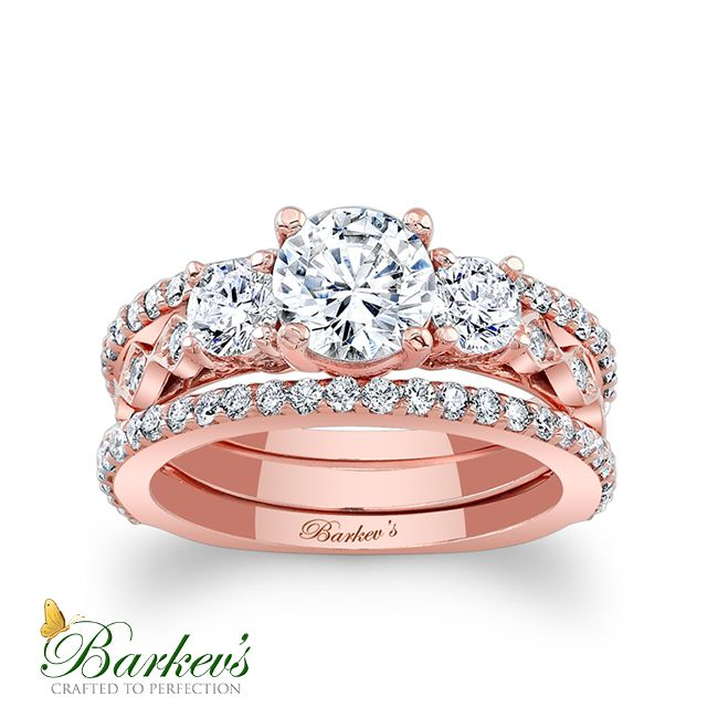Rose Gold Engagement Ring With Two Wedding Bands! 7973S2PW