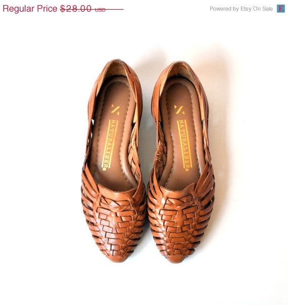 1980's brown leather woven huarache sandals by naturalizer. #shoes.