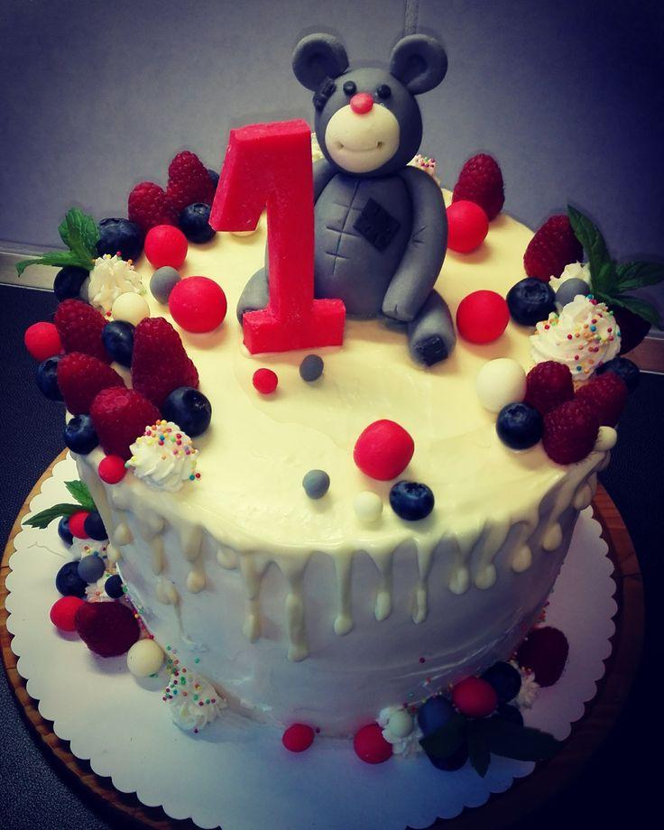 cake,first birthday,fondant,girl,teddy bear