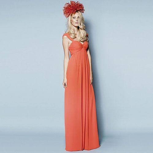 ブライズメイド・クリンクルシフォン・マンダリンフロアレングスドレス。サンセットに映えるマンダリンピンクのブライズメイドドレス。 #Bridesmaid #Dress #Orange #Wedding
