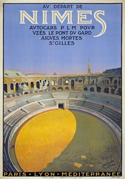 PLM Nîmes French Vintage Poster 1926 Nîmes : département du Gard, Région : Languedoc-Roussillon