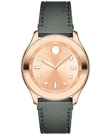 Movado Women's Swiss Bold Charcoal Silicone Strap Watch 38mm | macys.com