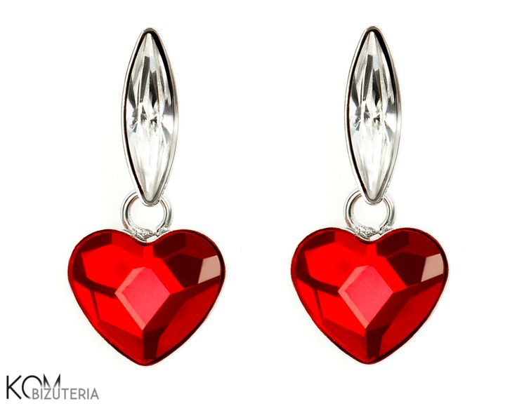 LOVE red heart - silver and Swarovski hanging stud earrings. Lovely silver stud earrings with Swarovski strong red heart and crystal navette stones.
