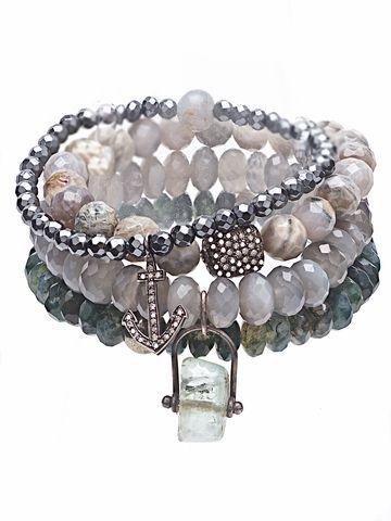 Diamond Ancient Crystal Four Stack Bracelet Set on 88 by Sandy Simonian