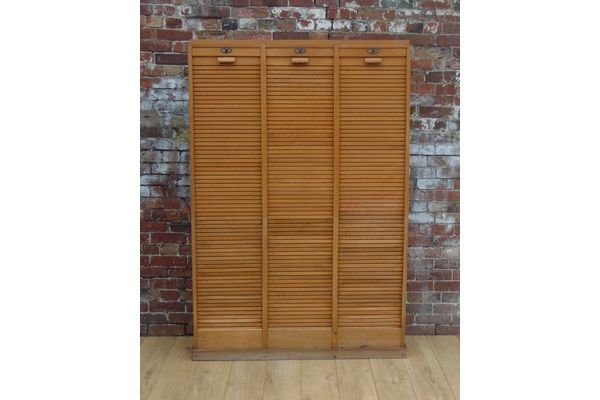 Triple Tambour Front Haberdashery Cabinet | Vinterior London  #industrial #design #vintage