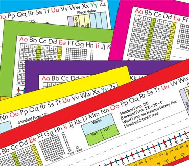 2nd Grade Common Core Desk Plates in six colors — number grid to 120, place value, expanded form, and more!
