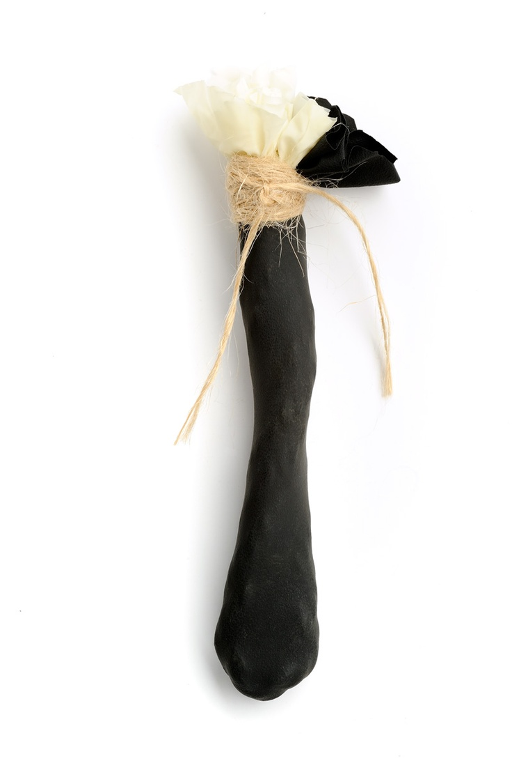 ''Homage Araki'' Collection:    'Yoko' - Brooch - Materials: Latex Glove, Silver, Rope, Thread,  2010