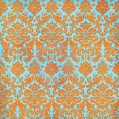 Crazy Summer Orange and Teal Damask Background by Jeri  Totten, via Dreamstime