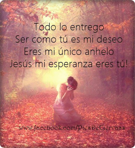 Todo lo entrego.. ser como Tu es mi deseo, Eres mi único anhelo.. Jesús mi esperanza eres Tu... /Frases ♥ Cristianas ♥