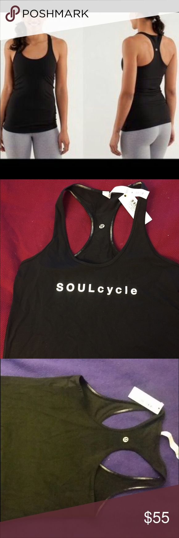 NWT Lululemon black tank CRB Reversible NWT brand new Lululemon soulcycle tank top, cool racerback, Says soulcycle in white, but it's reversible (lulu logo on both sides) so it's all black on the reserve side with hombre stitching (see photo) Size 8, original price $66 lululemon athletica Tops Tank Tops