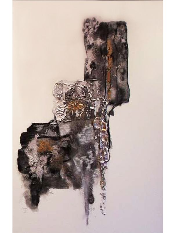 Modern abstract art in silver, black and white