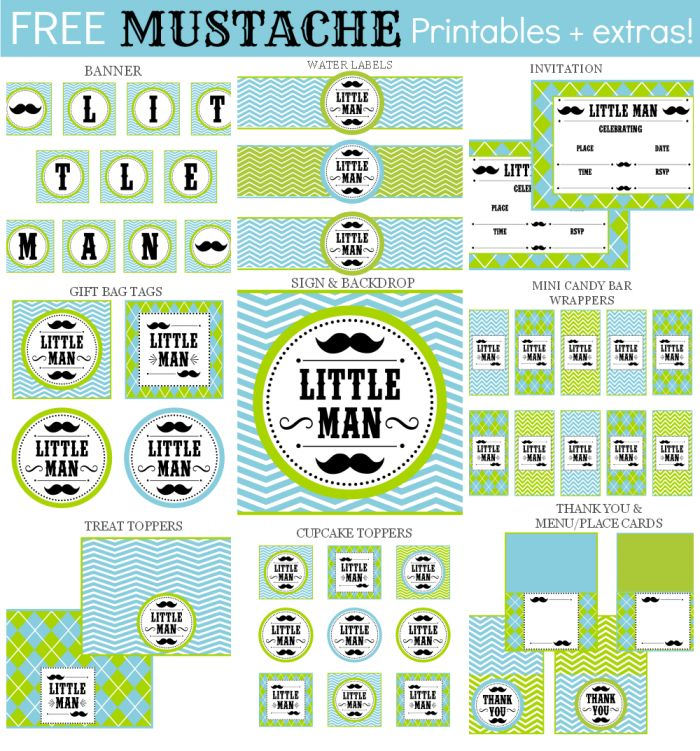 FREE LITTLE MAN MUSTACHE SET + EXTRAS! Little Man mustache printables work for baby showers or boy birthday parties!  Additional items can be added below. If you'd like the item(s) personalized, please add your text in the box at checkout.  For Personal Use Only. Do not modify, change, redistribute or sell.  FREE CAR