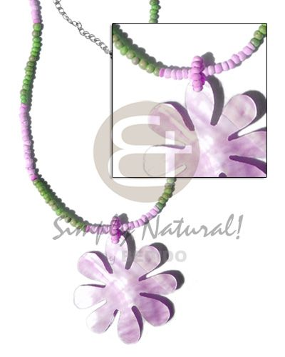 2-3mm Green/lilac Coco Pokalet   40mm Lilac Hammershell Flower Teens Necklace