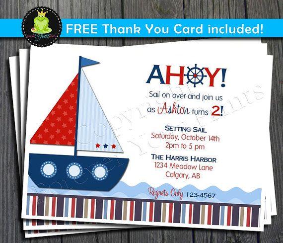 Hey, I found this really awesome Etsy listing at https://www.etsy.com/listing/120728154/nautical-birthday-invitation-sailboat