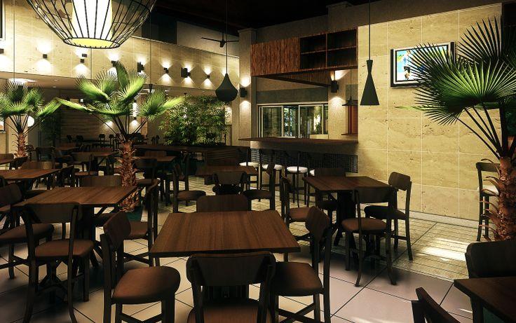 Área interna, bar.