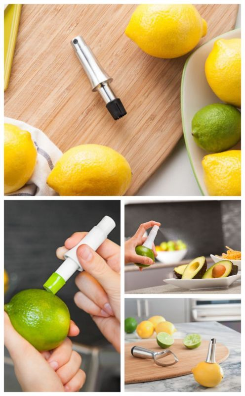 A citrus atomizer - To avoid dirtying hands, a knife, and a cutting board, stick this tap in your citrus and avoid the complicated mess. Click for more.