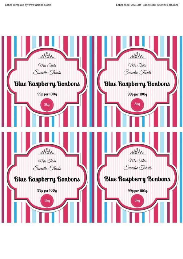 Raspberry Bonbons Sweet Jar Labels Template Image | Jar ...