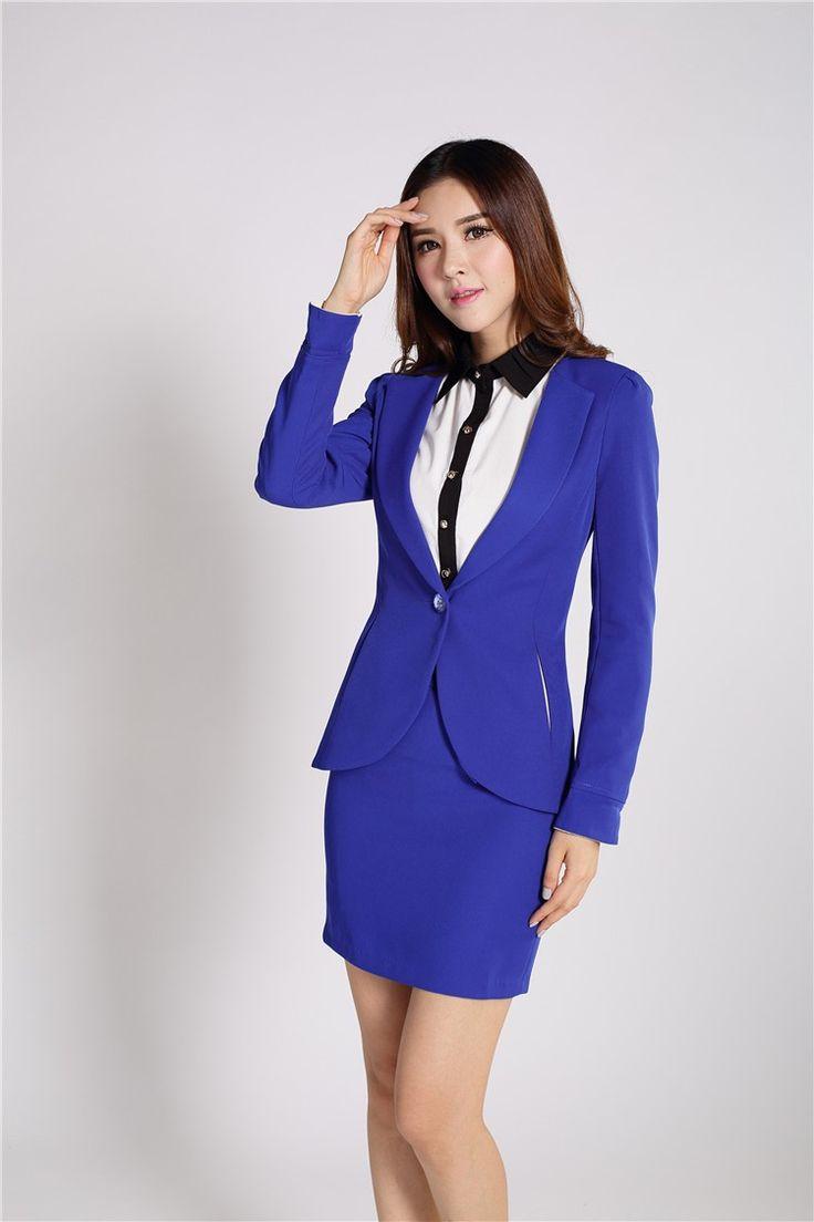 Novo 2015 Primavera Outono Mulheres Blazer Azul Royal e amarelo Saia Ternos Conjuntos Blazer Senhoras Beleza Estilos Uniformes Roupas de Trabalho(China (Mainland))
