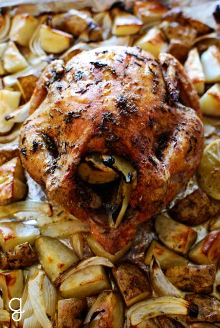 Roast Lemon-Herb Chicken and Potatoes. | Food | Pinterest