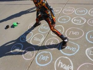 sight word Twister outside: tell the kiddo the word and s/he picks whether to put the arm/foot on that word