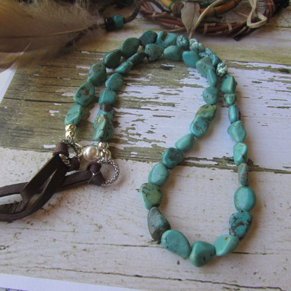 Handcrafted turquoise necklace deer skin by canyonviewjewelry