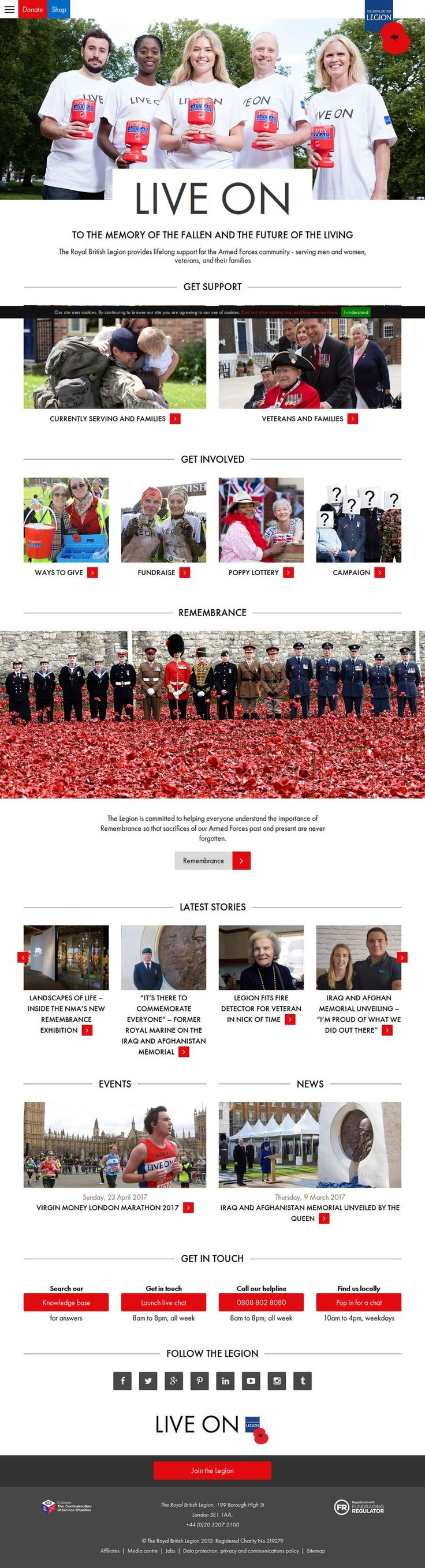Screenshot of the www.britishlegion.org.uk homepage by Snapito