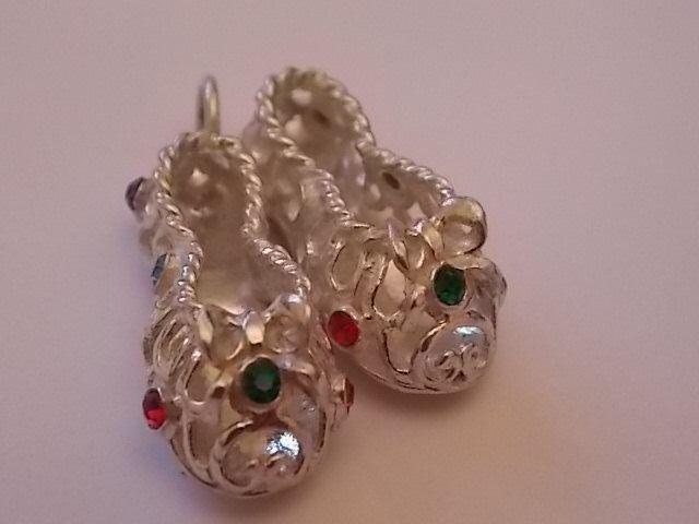 Vintage Silver Slippers Bracelet Charm Glass Stones BEAUTIFUL by BraceletstoBuckles on Etsy https://www.etsy.com/listing/214693182/vintage-silver-slippers-bracelet-charm