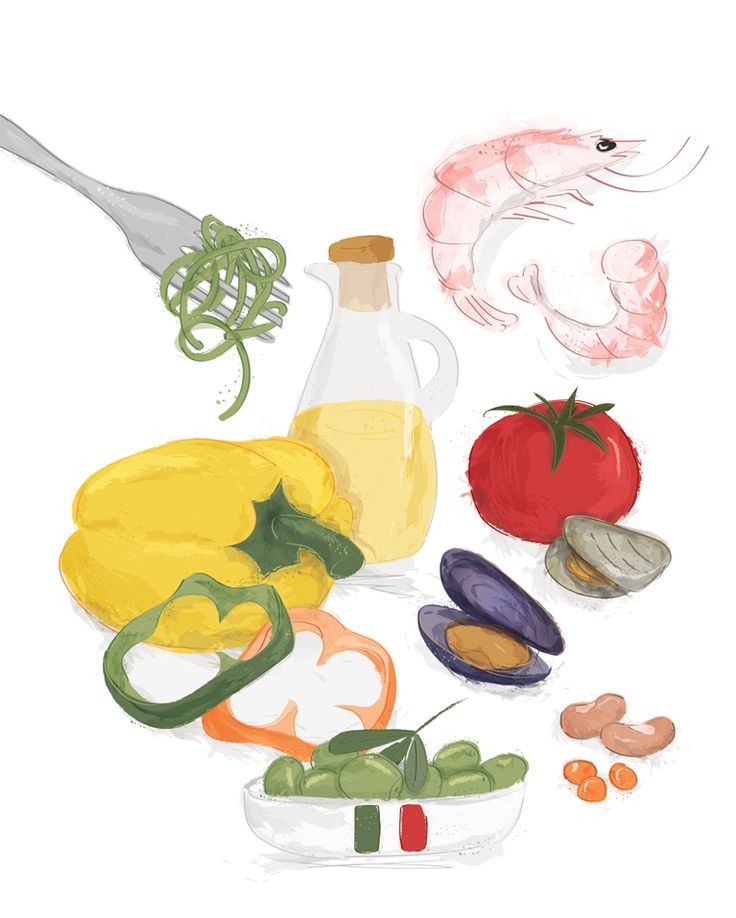 Mediterranean food illustration for Eat Healthy magazine by Louise Brigenshaw