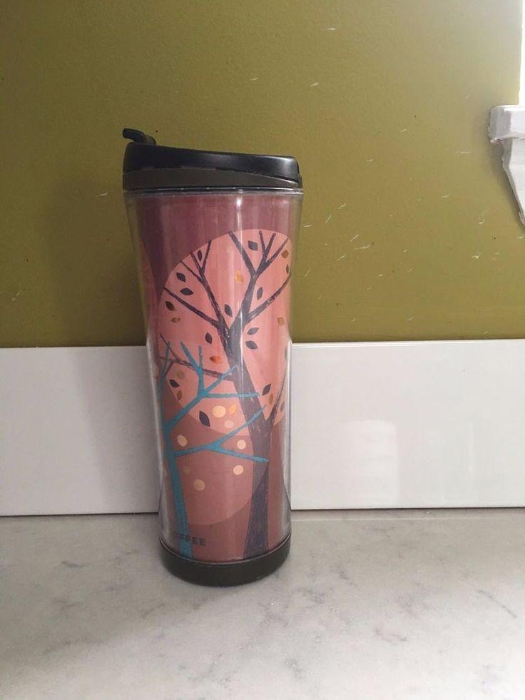 2007 Starbucks Coffee Travel Tumbler Mug 16 oz Brown Copper Trees Autumn Fall #Starbucks