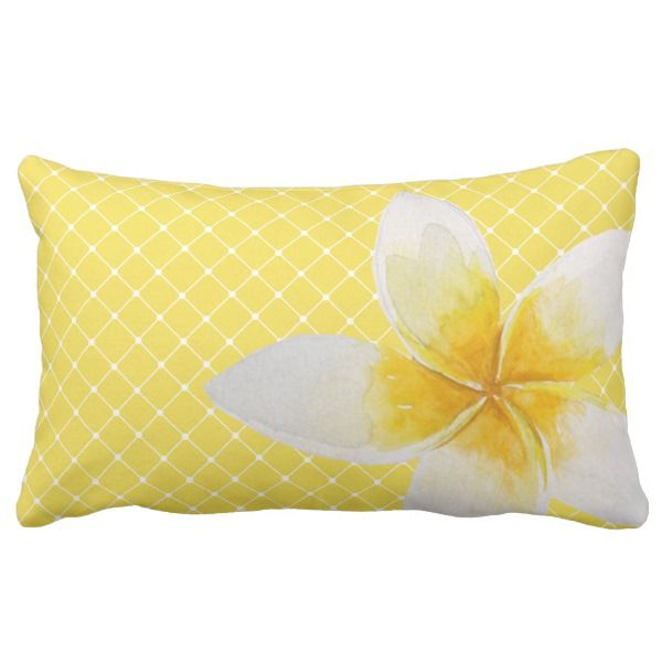 Elegant Tropical Flower Trellis Pattern Yellow Lumbar Pillow