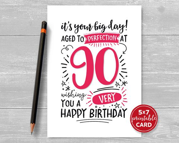 Printable 90th Birthday Card