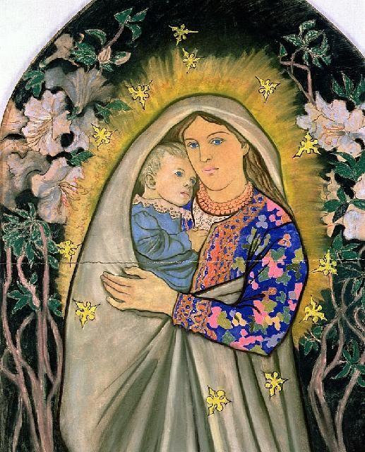 Rural pastel painting Madonna -  by Stanislaw Wyspianski