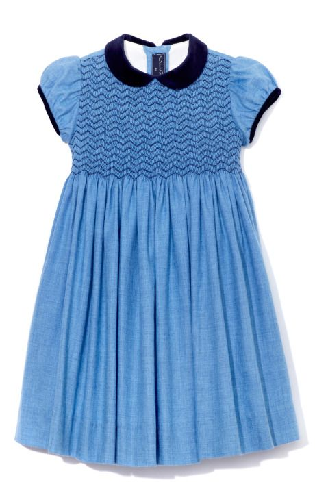 Navy and blue Oscar de La Renta girls dress.  Bodice smocked with navy zigzags.  So simple and elegant.