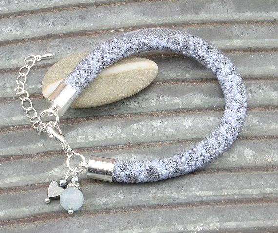 Blue and Gray Plastic Net Thread Bracelet