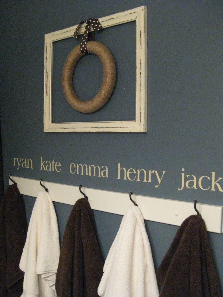 Hooks for Bathroom. Saw this a while ago on blog now here it is again. Doing it in kids bathroom!