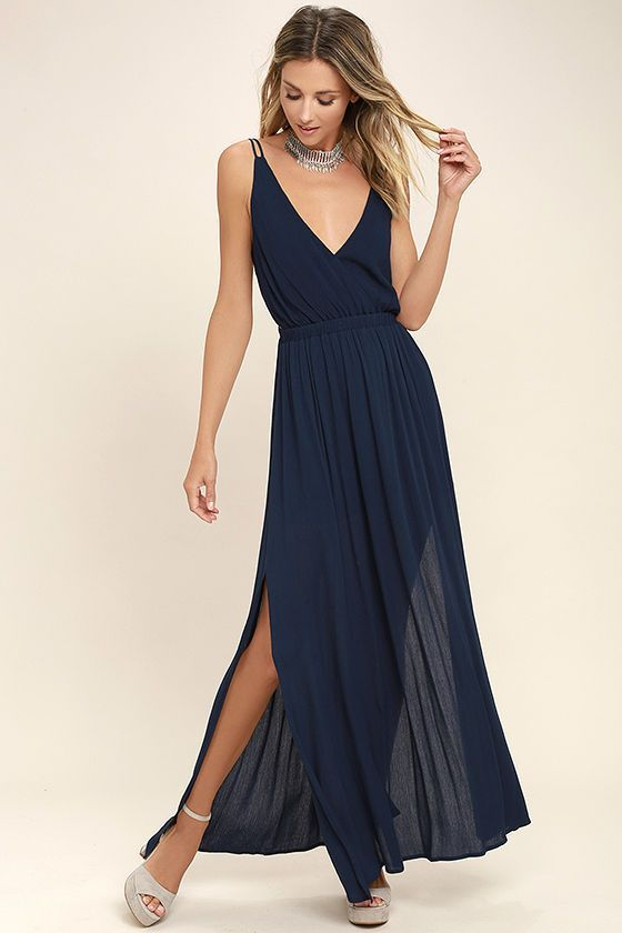 We've got an adventure dreamed up, and it starts and ends with the Lost in Paradise Navy Blue Maxi Dress! A surplice bodice with a plunging V neckline meets a strappy, open back and an elastic waistband. Lightweight woven maxi skirt has sexy slits along each side.
