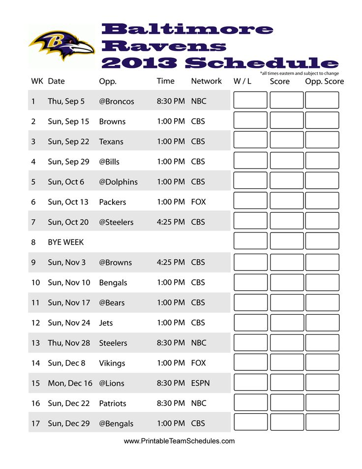 Baltimore Ravens Schedule 2013