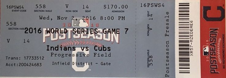 1 -2016 World Series Game 7 Ticket Stubs- Mint Chicago Cubs vs Cleveland Indians