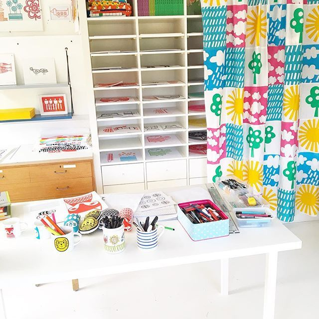 Drawing table in my studio - have cleared most of my fabrics off my shelves to make this more of a print and illustrating room #janefosterstudio #printstudio #drawingtable #illustrator #janefoster #retrostudio #handmadestudio #whitestudio