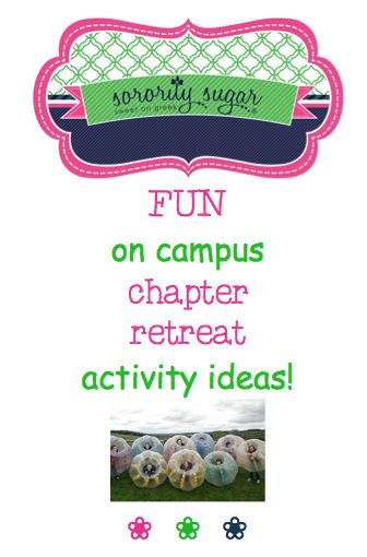 Get fun activity ideas for your next 'on campus' sisterhood retreat! If you're looking for things to do in and around your sorority house, check out this list of games and recreation for your sorority. <3 BLOG LINK: http://sororitysugar.tumblr.com/post/138931039904/im-in-charge-of-chapter-retreat-for-my-sorority#notes