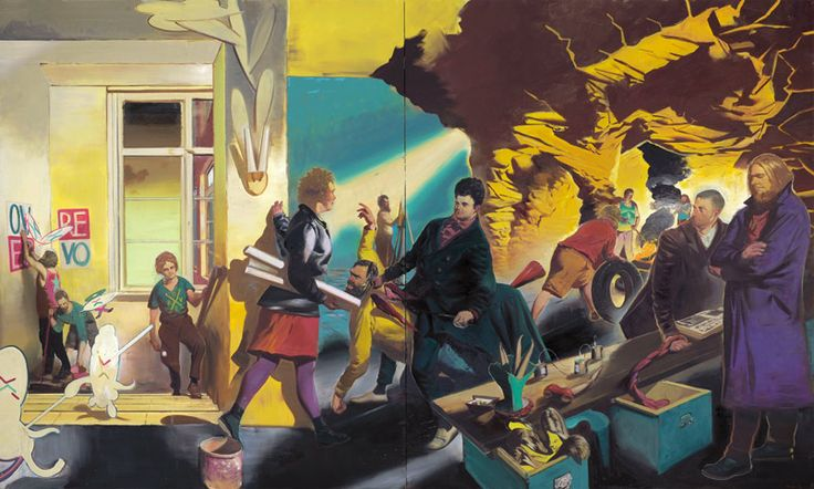 Neo Rauch - don't know what it's called - This is a contemporary German painted - from the old East Germany in Leipzig - I discovered him when we visited there several years ago and went to the art gallery ..stunning stuff.