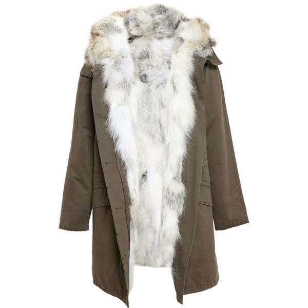YVES SALOMON Fox Fur Lined Cotton Parka ($3,325) ❤ liked on Polyvore featuring outerwear, coats, yves salomon, fox fur coat, yves salomon parka, cotton parka и long sleeve coat
