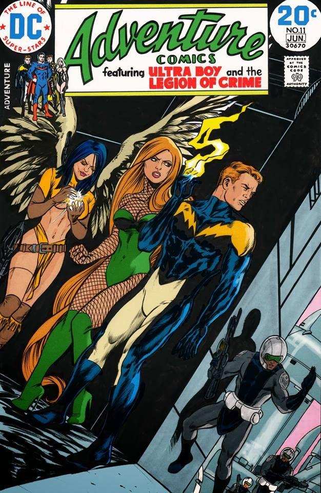 Legion of Superheroes - Dawnstar, Lightning Lad and Spider-girl in retro mock-up! cool custom art/cover art