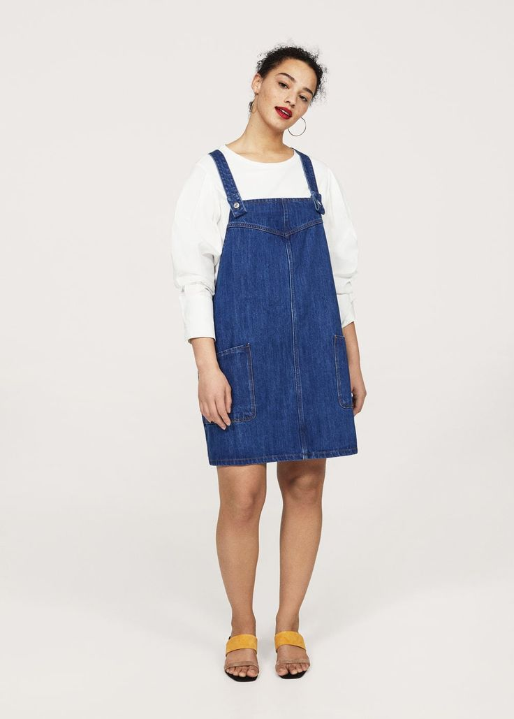 Medium denim pinafore dress -  Plus sizes | Violeta by MANGO United Kingdom