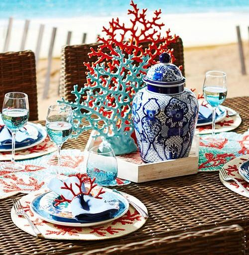 5 Coastal U0026 Nautical Theme Table Settings From Pier 1: Http://www