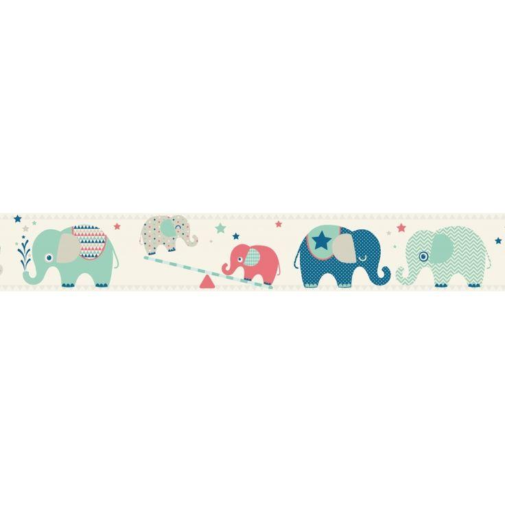 Kinder Bordüre 'Zirkus-Elefanten' blau/grau/bunt, selbstklebend