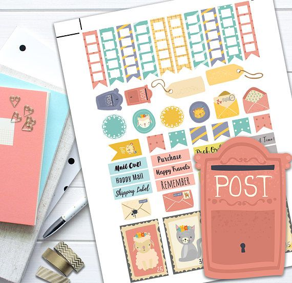 Happy Mail Theme Planner Weekly Sticker Kit Classic Happy, Happy Mail Theme Planner Weekly Sticker Kit, Classic Happy Planner stickers, printable planner stickers, Happy Mail stickers, sticker set