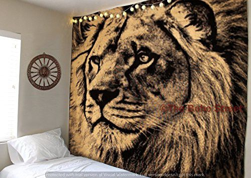 The Boho Street - Exclusive 100% Pure Sparkling Gold and Black Lion Face Tapestry, Indian Handmade Wall Art, Hippie Wall Hanging, Bohemian Bedspread, Perfect Tapestry for Decoration